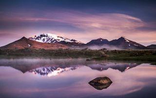 Фото бесплатно озеро и горы, холмы, снег, возвышенность, отражение, вода, озеро, небо, поздний вечер
