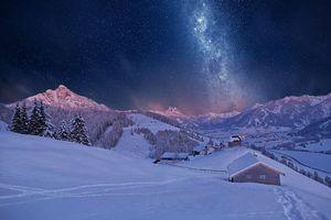 Бесплатные фото поселок,горы,зима,снег,сугробы,небо,звезды