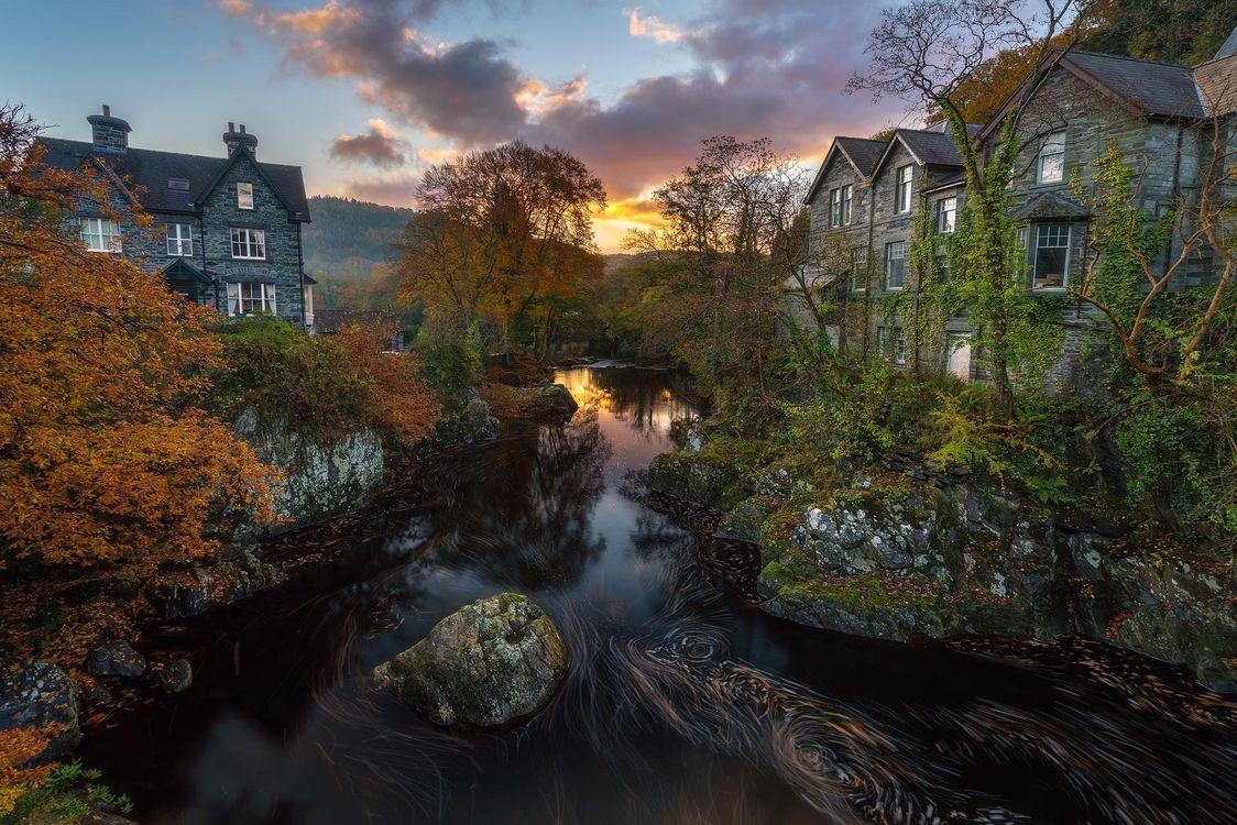 Фото бесплатно закат, река, дома, деревья, БЕТС У КОЕД, ВЕЛИКОБРИТАНИЯ, пейзаж, пейзажи