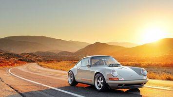 Заставки шоссе, солнце, автомобиль, порше
