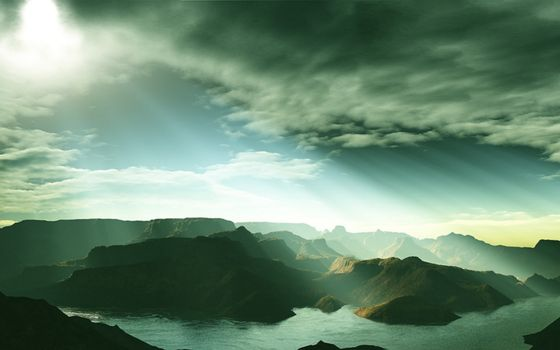 Фото бесплатно залив, горы, небо