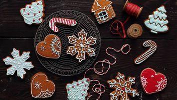 Бесплатные фото печенье,новый год