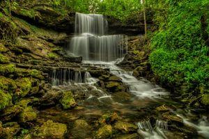 Обои Вест Милтон, штат Огайо, водопад, скалы, деревья, речка, камни, природа