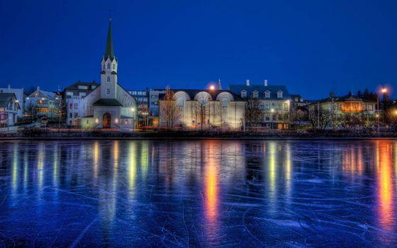 Фото бесплатно ночь, озеро, лед