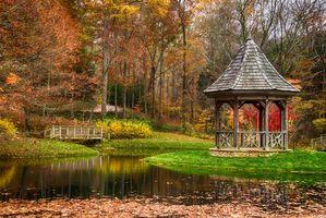 Бесплатные фото осень, парк, пруд, беседка, деревья, пейзаж