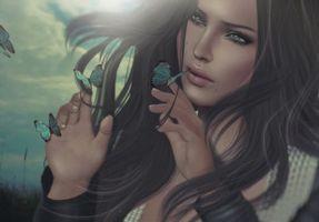 Бесплатные фото девушка,романтика,бабочки,фэнтези,креатив,стиль,причёска