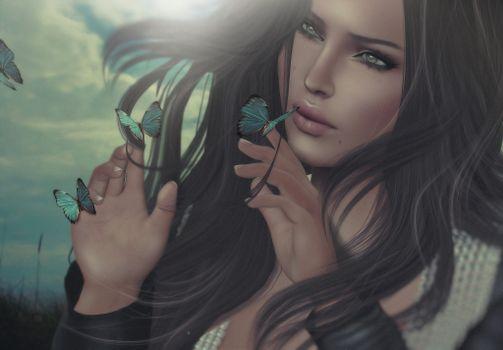 Photo free girl, romance, butterfly