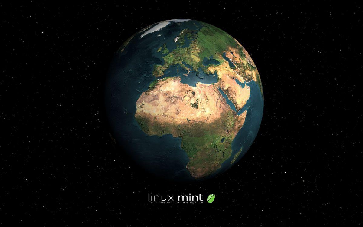 Фото бесплатно линукс минт, линукс, мята, linux mint, linux, операционная система компьютер, графика, глобус, Земля, звёзды, высокие технологии, hi-tech