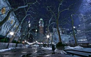Бесплатные фото ночь, улица, фонари, деревья, снег, дома, здания
