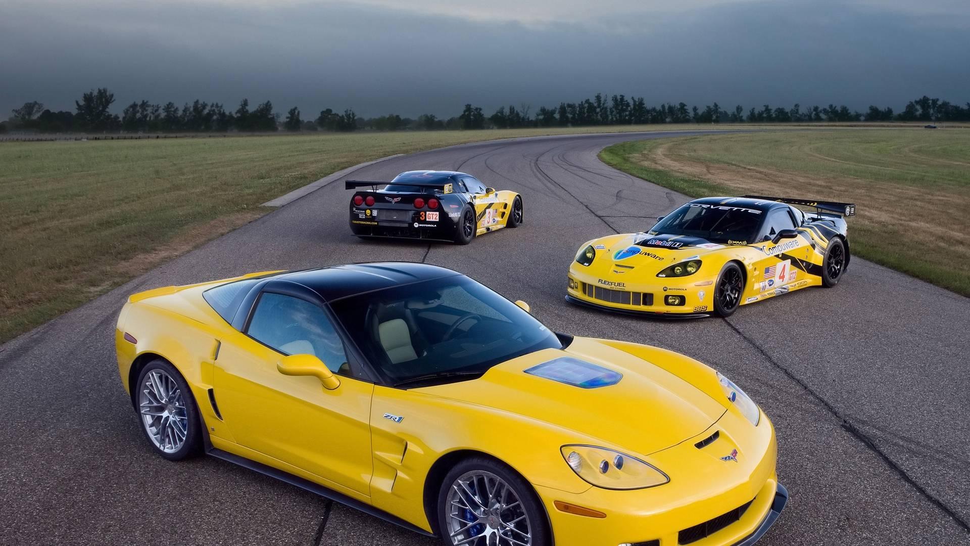 Обои corvette zr1, классический цвет, желтый