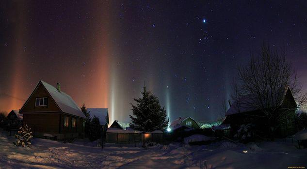 Фото бесплатно северное сияние, старые дома, деревня