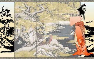 Заставки япония,девушка,рисунок,китайская живопись,седзи,аниме