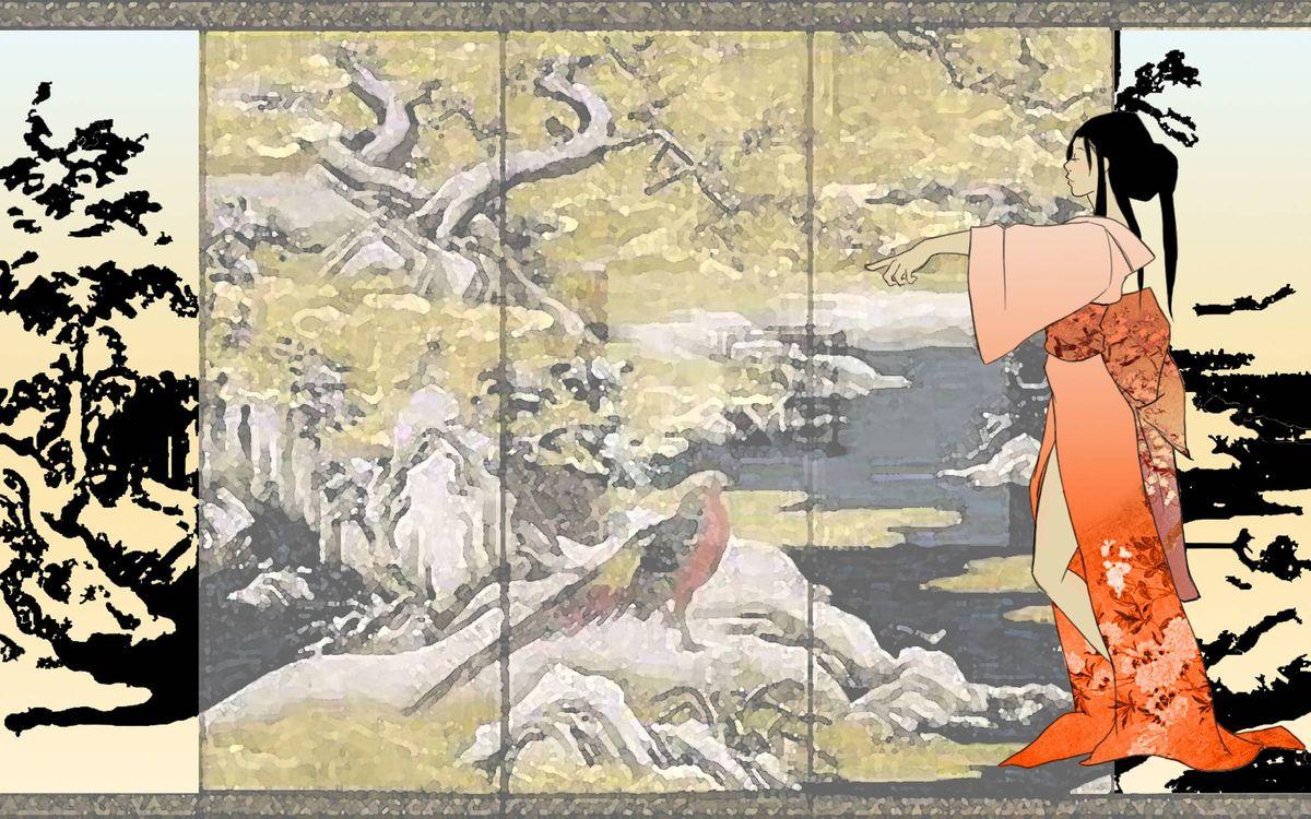 Фото бесплатно япония, девушка, рисунок, китайская живопись, седзи, аниме, мультфильмы