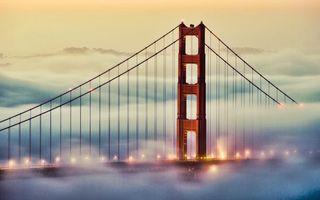 Бесплатные фото мост,конструкция,тросы,фонари,огни,облака