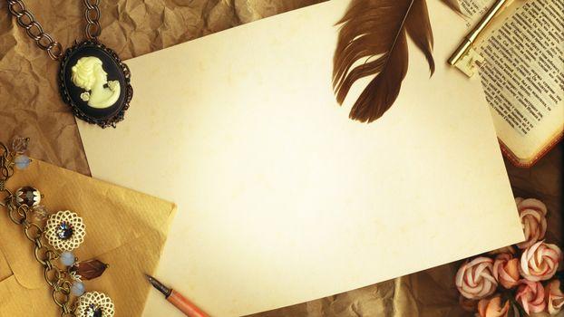 Фото бесплатно перо, лист бумаги, стол