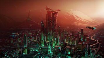 Бесплатные фото город,будущее,дома,здания,дороги,летающая техника
