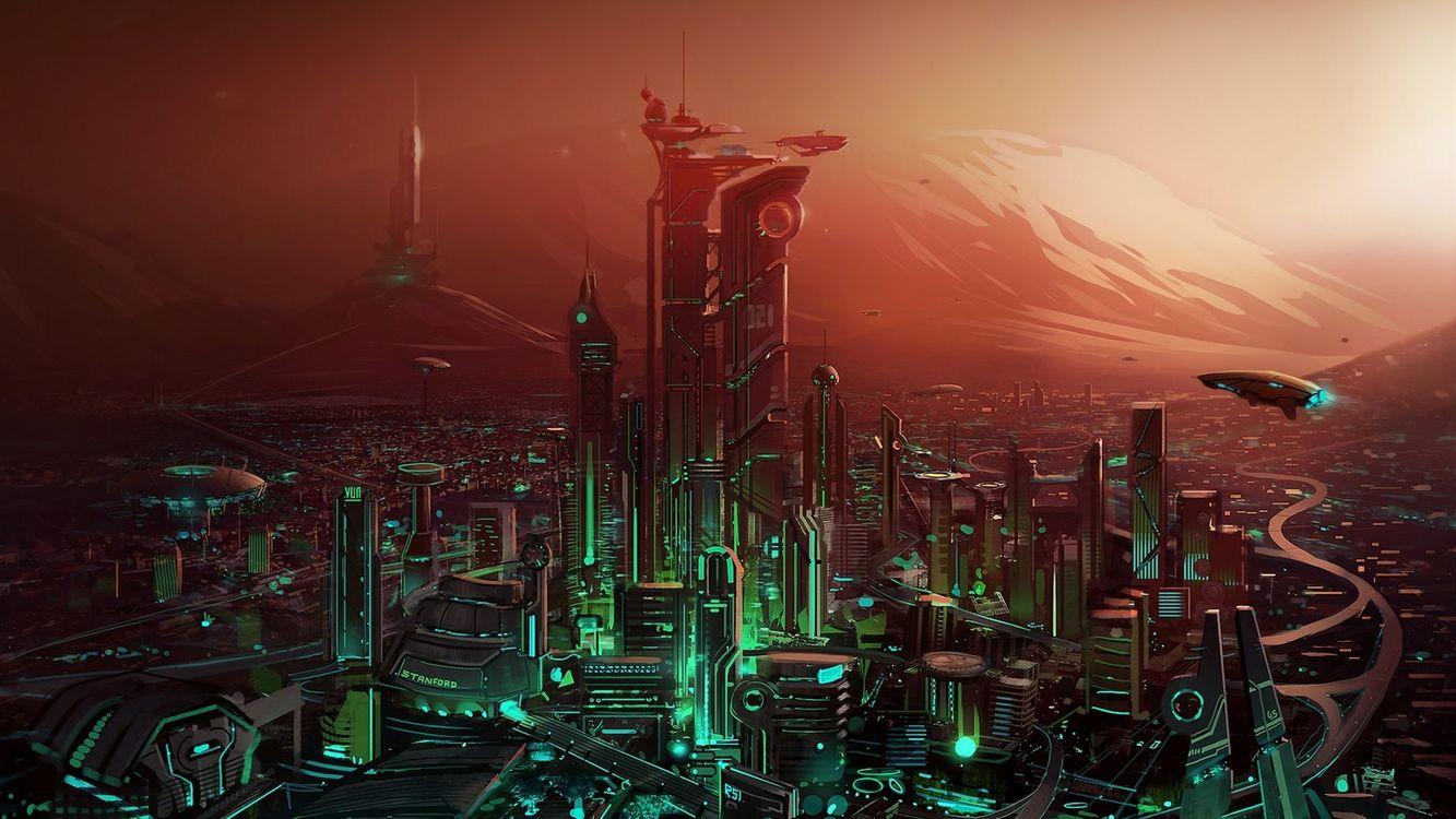 Фото бесплатно город, будущее, дома, здания, дороги, летающая техника, фантастика