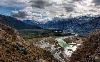 Бесплатные фото горы,вершины,снег,равнина,река,растительность,небо