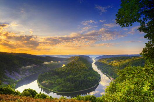 Бесплатные фото Mettlach,German,Horseshoe Bend,Bend of the river