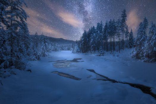 Бесплатные фото Sokna,Норвегия,зимний день в январе,река,зима,ночь,сияние,деревья,пейзаж