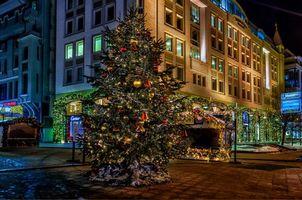 Обои Москва, улицы Москвы, здание, новый год, ёлка, Россия, ночь, огни