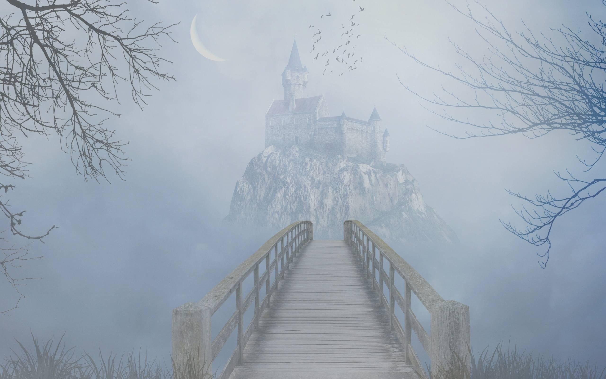Обои мостик, путь к замку, туман, месяц