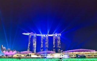 Бесплатные фото ночь,Сингапур,отель,крыша,корабль,фонари,подсветка
