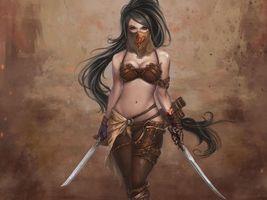 Бесплатные фото Девушка,персонаж,игра,воин,меч,красота