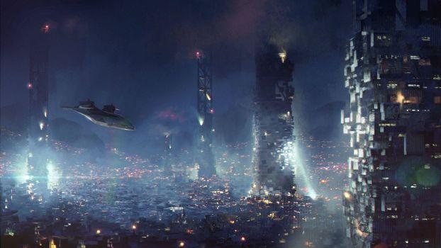Фото бесплатно город будущего, звездолеты, дома