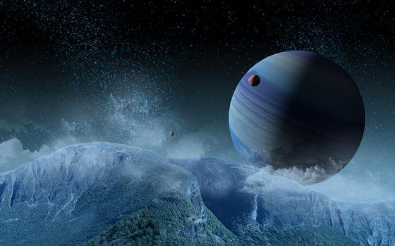 Photo free universe, asteroids, meteorites