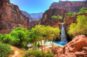 Бесплатные фото водопад, река, заводь, горы, деревья, лето