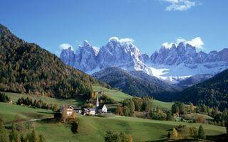 Бесплатные фото горы,долина,трава,деревья,дома,строения,скалы