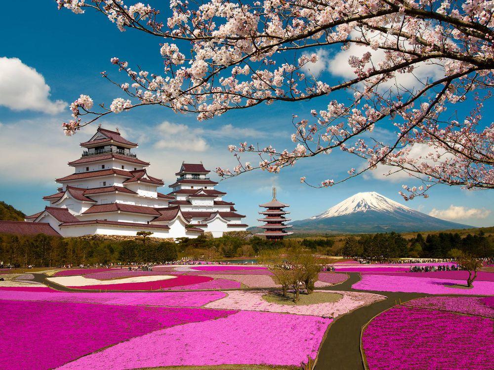 Фото бесплатно Aizuwakamatsu Castle, Tsuruga Castle, Aizuwakamatsu, Fukushima, Japan, Mount Fuji, Замок Аидзувакамацу - на рабочий стол