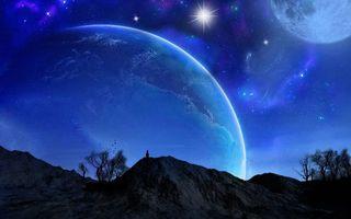 Бесплатные фото горы, деревья, человек, ночь, небо, планеты, звезды