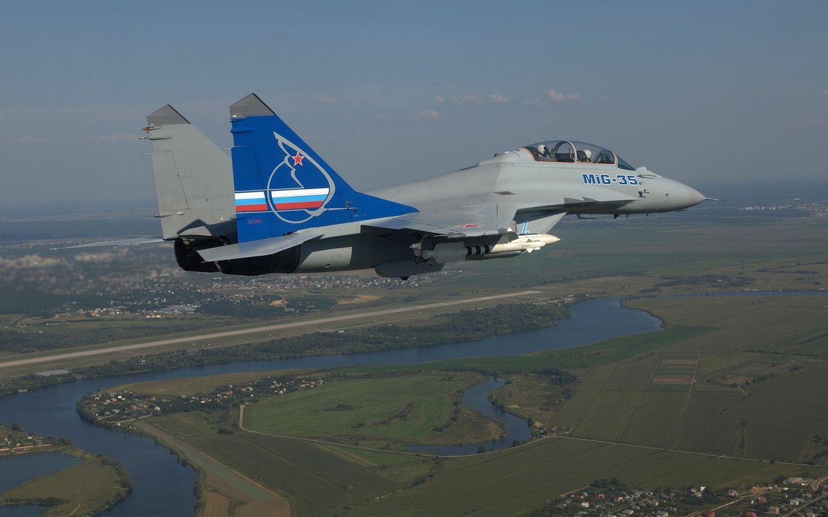 Фото бесплатно самолет, истребитель, миг-35, кабина, пилоты, крылья, вооружение, хвост, полет, авиация - скачать на рабочий стол