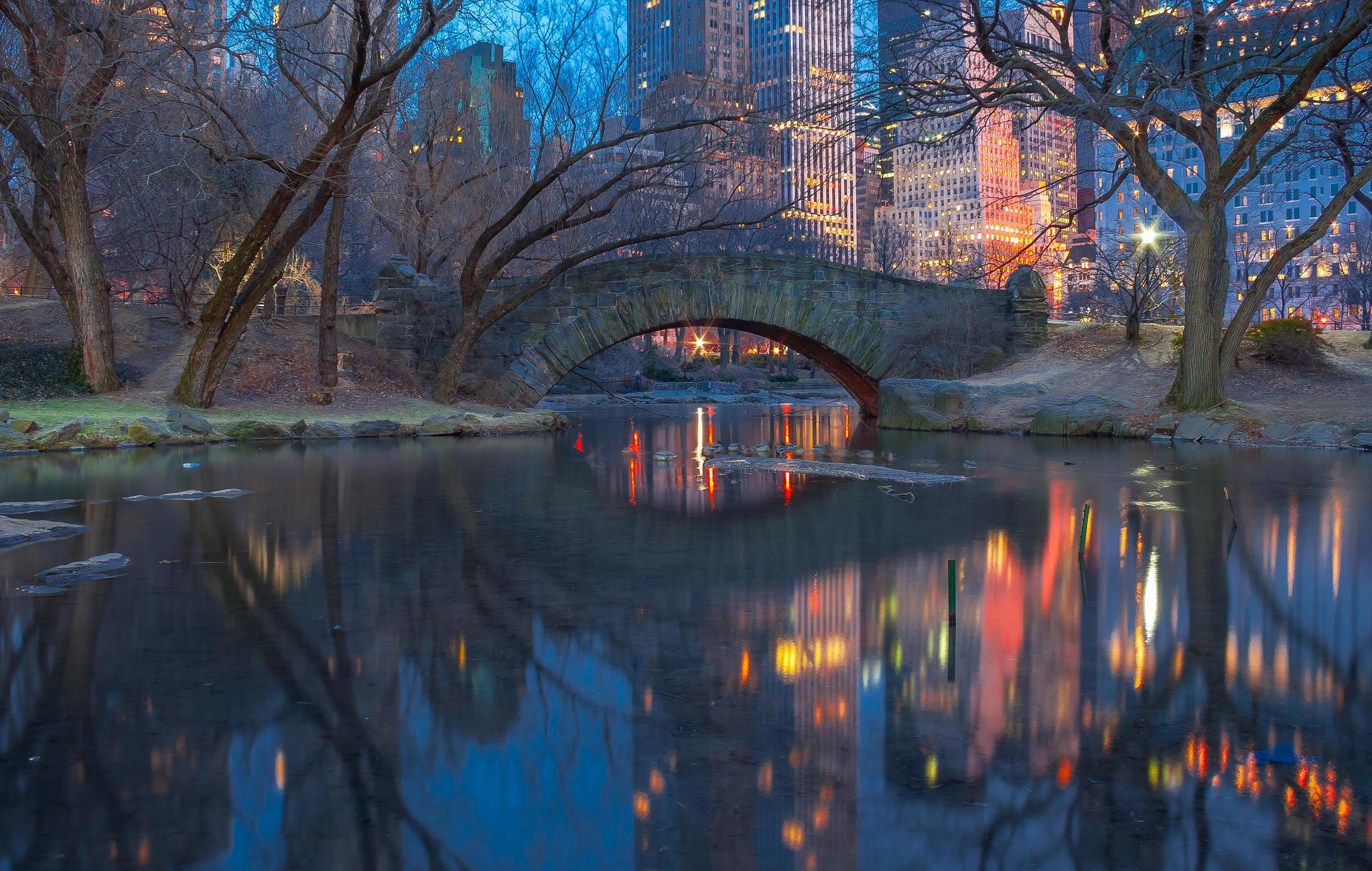 Обои Центральный парк, Нью-Йорк, вечер, Gapstow Bridge