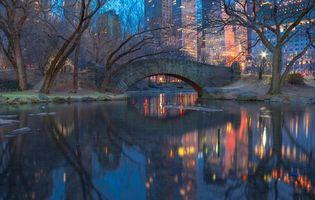 Бесплатные фото Центральный парк,Нью-Йорк,вечер,Gapstow Bridge