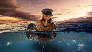 Бесплатные фото закат, море, девочка, бочка, ситуация