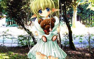 Бесплатные фото девочка, парк, глаза, уши, платье, игрушка, медведь