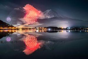 Бесплатные фото Фудзияма,Япония,гора,фейерверк,озеро,Кавагути,Kawaguchiko