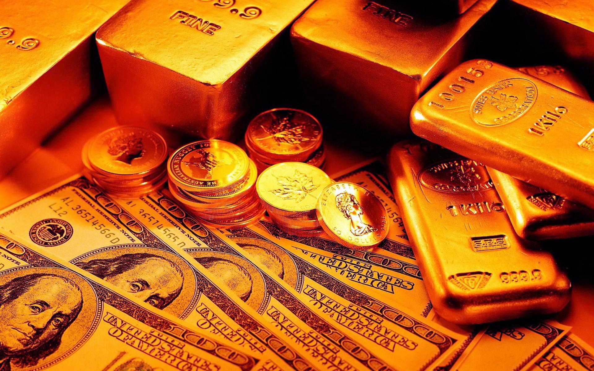 обои монеты, слитки, золото, доллары картинки фото