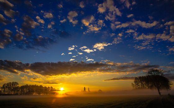 Заставки туман, поле, небо