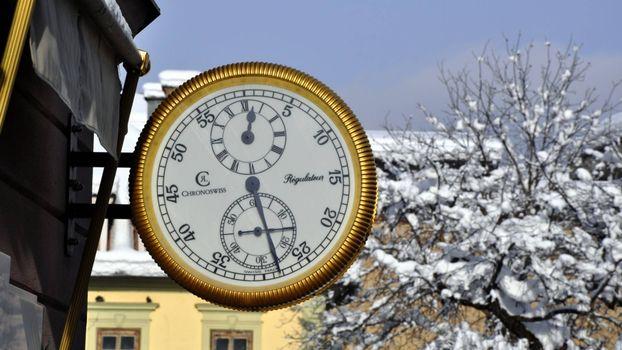 Фото бесплатно городские часы, стрелки, зима