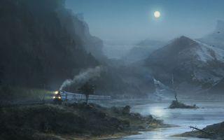 Бесплатные фото картина,поезд,луна,горы,туман,озеро,ночь