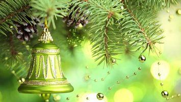 Заставки новый год, новогодние обои, украшения, Рождество, фон, дизайн, ёлочные игрушки, колокольчик