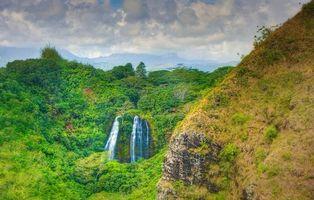 Бесплатные фото Opaekaa Falls,Kauai,Hawaii,горы,водопад,деревья,пейзаж