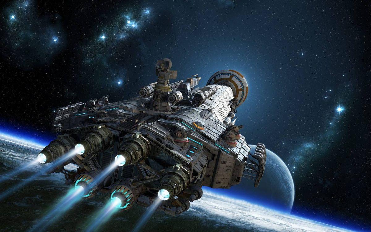 Фото бесплатно звездолет, планеты, звезды, космический корабль, фантастика