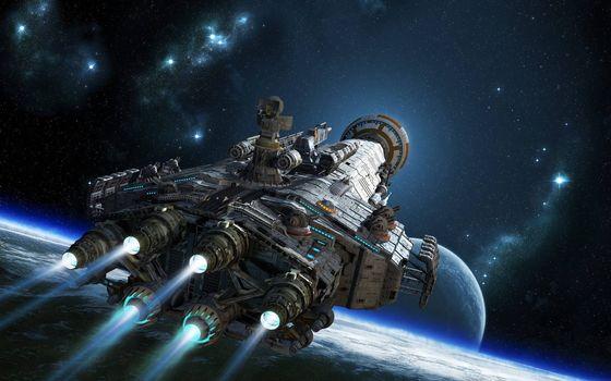 Фото бесплатно звездолет, планеты, звезды