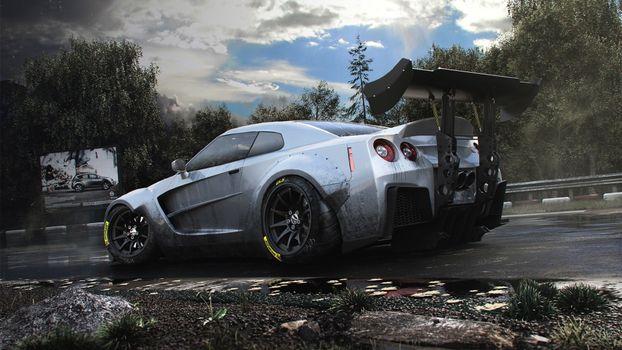 Фото бесплатно Nissan GTR-35, лес, облака