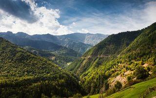 Бесплатные фото горы,ущелье,трава,деревья,небо,облака